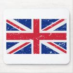 Bandera BRITÁNICA del vintage Tapete De Ratón
