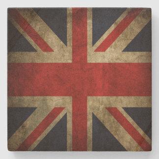 Bandera británica descolorada de Union Jack del Gr Posavasos De Piedra