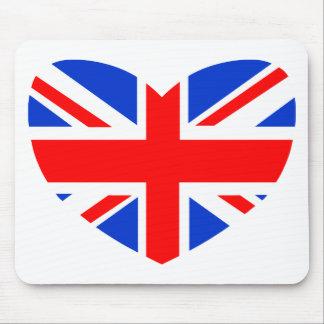 Bandera británica en forma de corazón alfombrilla de ratones