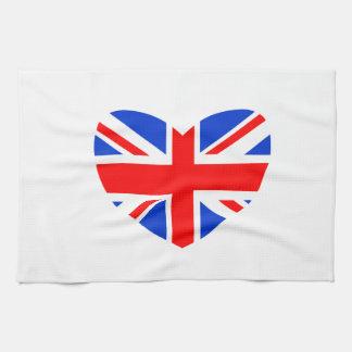 Bandera británica en forma de corazón toallas de cocina