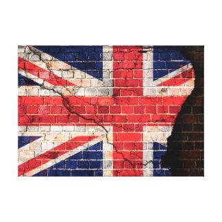 Bandera BRITÁNICA en una pared de ladrillo Impresión En Lona Estirada