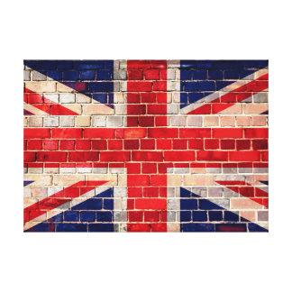 Bandera BRITÁNICA en una pared de ladrillo Lienzo Envuelto Para Galerías
