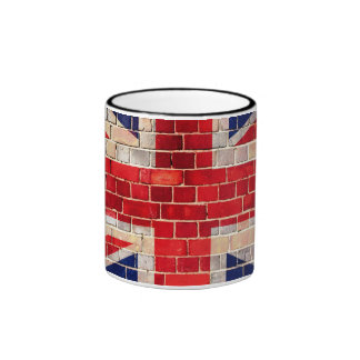 Bandera BRITÁNICA en una pared de ladrillo Taza
