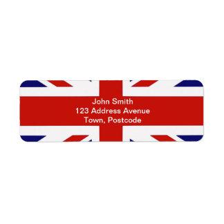 Bandera británica etiquetas de remite