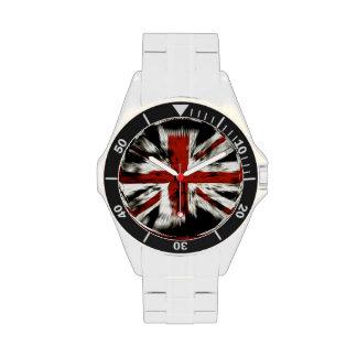 Bandera británica fresca relojes de pulsera
