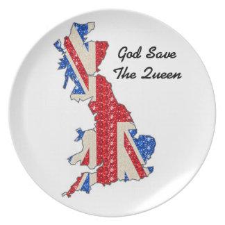 Bandera BRITÁNICA God Save the Queen de la placa Platos De Comidas