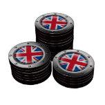 Bandera británica industrial con el gráfico de ace fichas de póquer