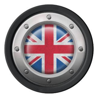 Bandera británica industrial con el gráfico de juego de fichas de póquer