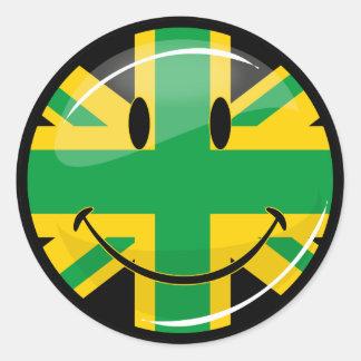 Bandera británica jamaicana sonriente brillante pegatina redonda