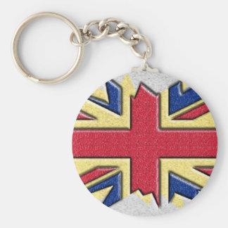 Bandera británica multi de la plata del n del oro llavero redondo tipo pin