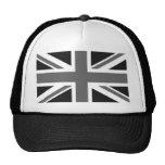 Bandera británica negra y blanca gorra