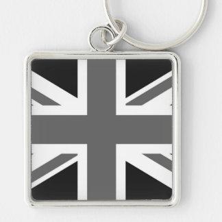 Bandera británica negra y blanca llavero cuadrado plateado