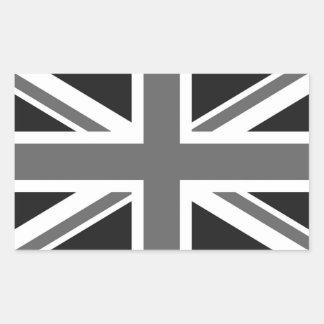 Bandera británica negra y blanca pegatina rectangular
