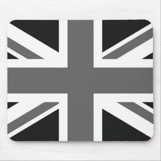 Bandera británica negra y blanca tapetes de raton