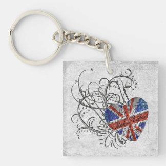 Bandera británica ornamental llaveros