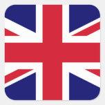 Bandera británica calcomanías cuadradass personalizadas