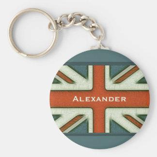 Bandera británica personalizada llavero redondo tipo pin
