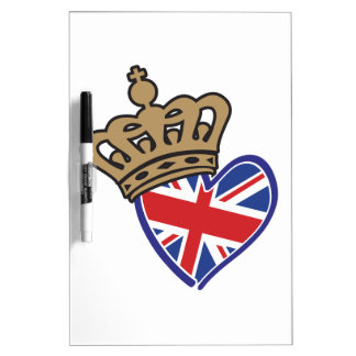 Bandera BRITÁNICA real del corazón de Crowm Tableros Blancos