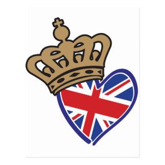 Bandera BRITÁNICA real del corazón de Crowm Postal