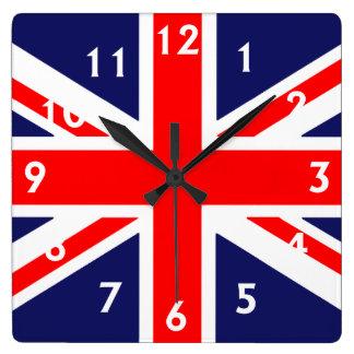 Bandera británica reloj cuadrado