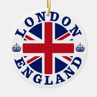 Bandera británica Roundel de Londres Inglaterra Adorno Navideño Redondo De Cerámica