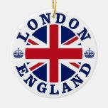 Bandera británica Roundel de Londres Inglaterra Ornamentos De Navidad