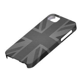 Bandera británica (Union Jack) en negro iPhone 5 Coberturas