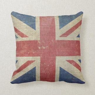 Bandera BRITÁNICA vieja Cojín Decorativo