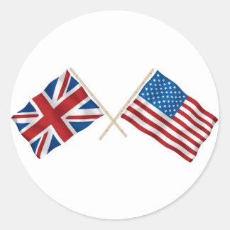 Bandera británica y americana pegatina redonda