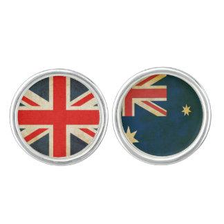 Bandera BRITÁNICA y vínculos de puño australianos Gemelos