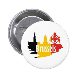 Bandera Bruselas Pin Redondo De 2 Pulgadas