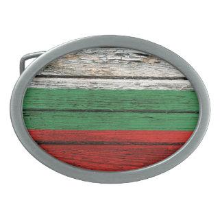 Bandera búlgara con efecto de madera áspero del gr hebilla de cinturon oval