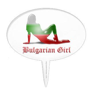 Bandera búlgara de la silueta del chica figura de tarta