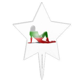 Bandera búlgara de la silueta del chica decoración para tarta