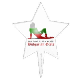 Bandera búlgara de la silueta del chica figuras de tarta