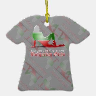 Bandera búlgara de la silueta del chica adornos