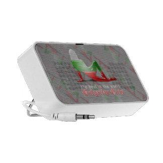 Bandera búlgara de la silueta del chica altavoces de viaje