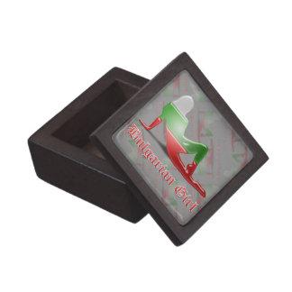 Bandera búlgara de la silueta del chica cajas de recuerdo de calidad