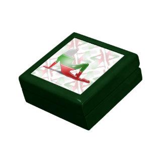 Bandera búlgara de la silueta del chica cajas de recuerdo