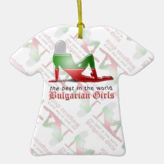 Bandera búlgara de la silueta del chica ornamentos de reyes