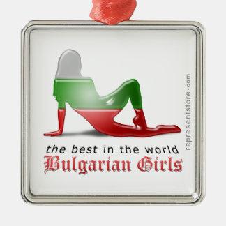 Bandera búlgara de la silueta del chica adorno de navidad