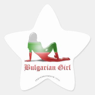 Bandera búlgara de la silueta del chica pegatina en forma de estrella