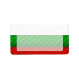 Bandera búlgara pelada moderna etiqueta de dirección