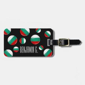 Bandera búlgara redonda brillante etiqueta de maleta