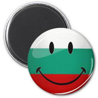 Bandera búlgara sonriente de la ronda brillante imán redondo 5 cm