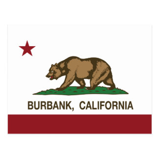 Bandera Burbank del estado de California Tarjeta Postal