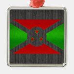 Bandera burundesa pelada moderna ornamento de reyes magos