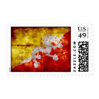 Bandera butanesa resistida sello