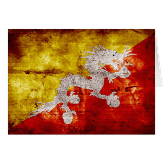 Bandera butanesa resistida tarjeta pequeña