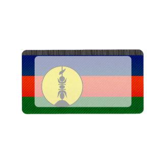 Bandera caledonia pelada moderna etiqueta de dirección